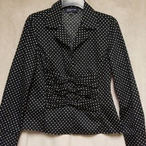 Navy blue blouse with white polka dots #21